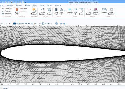 مدلسازی جریان آشفته حول ایرفویل naca 0012 در نرم افزار COMSOL