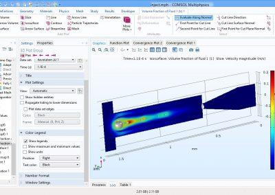 مدلسازی فرایند تزریق جوهر در نرم افزار COMSOL