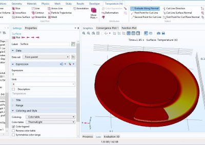 مدل سازی انتقال حرارت در دیسک و لنت ترمز در طی فرایند ترمز در نرم افزار COMSOL