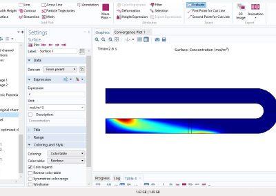مدلسازی بهینهسازی کاهش پراکندگی یک ماده در جریان الکترواسموتیک در نرم افزار COMSOL